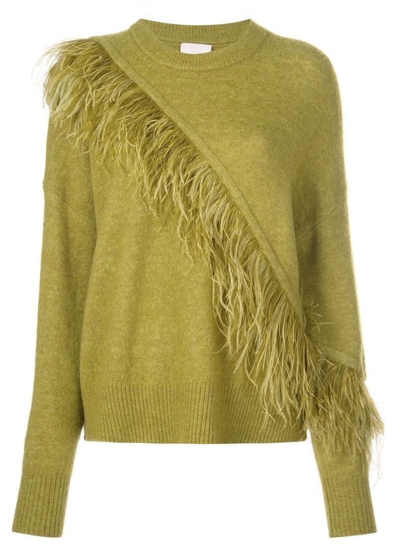 Cinq a Sept Merritt feather-trimmed jumper