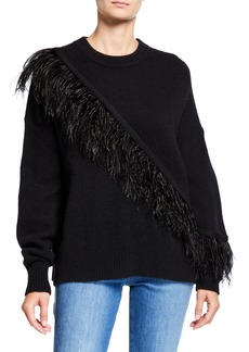 Cinq a Sept Merritt Wool Pullover Sweater with Feathers