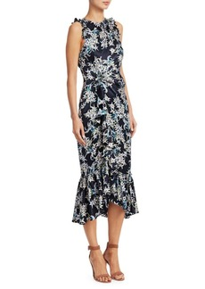 Cinq a Sept Mirna Silk Sleeveless Ruffled Print Dress