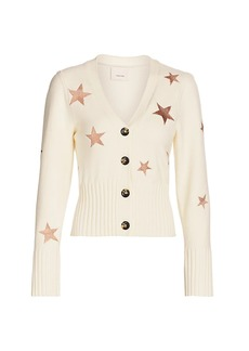 Cinq a Sept Morgan Metallic Star Cardigan