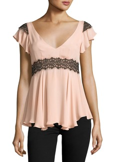 Cinq a Sept Naeva V-Neck Ruffled Silk Blouse w/ Lace