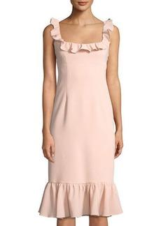 Cinq a Sept Opalina Square-Neck Flounce-Hem Cocktail Dress
