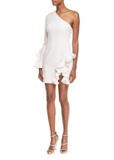 Cinq a Sept Pia One-Shoulder Long-Sleeve Cocktail Dress with Ruffles