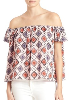 Cinq a Sept Piper Off-The-Shoulder Metallic Silk Top