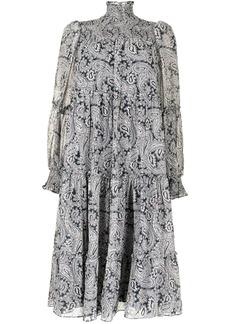 Cinq a Sept pleated paisley-print dress