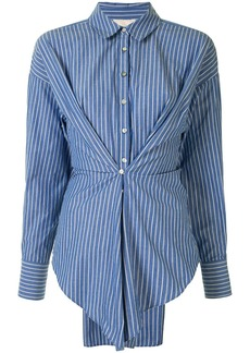 Cinq a Sept pleated striped shirt