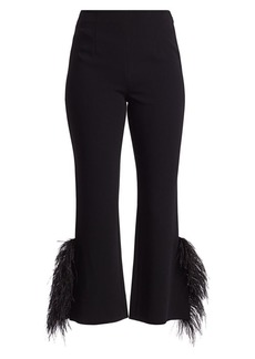 Cinq a Sept Portia Feather-Cuff Crop Flare Pants