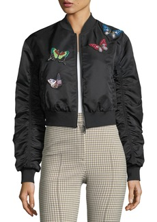 Cinq a Sept Prince Butterfly Satin Bomber Jacket