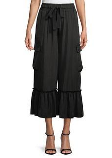 Cinq a Sept Prisilla Cupro Ruffle-Hem Wide-Leg Culottes