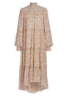 Cinq a Sept Rika Printed HIgh-Low Midi Dress