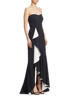Cinq a Sept Roma Strapless Ruffle High-Low Gown