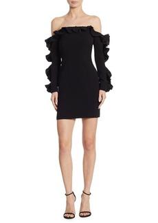 Cinq a Sept Rosemarie Ruffle Off-The-Shoulder Mini Dress