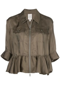 Cinq a Sept ruffle trim shirt jacket
