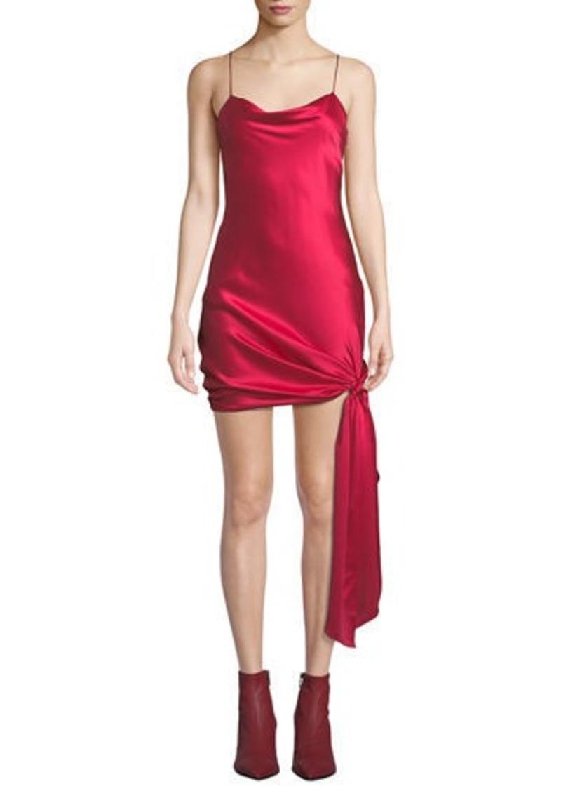 Cinq a Sept Ryder Sleeveless Tie-Hem Satin Dress
