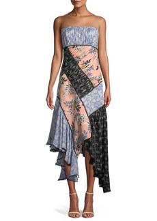 Cinq a Sept Sabrina Strapless Floral Patchwork Dress