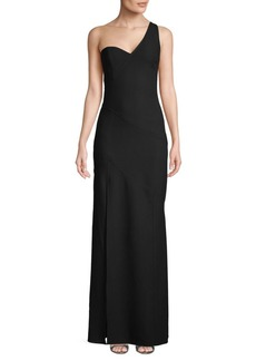 Cinq a Sept Seamed One-Shoulder Gown