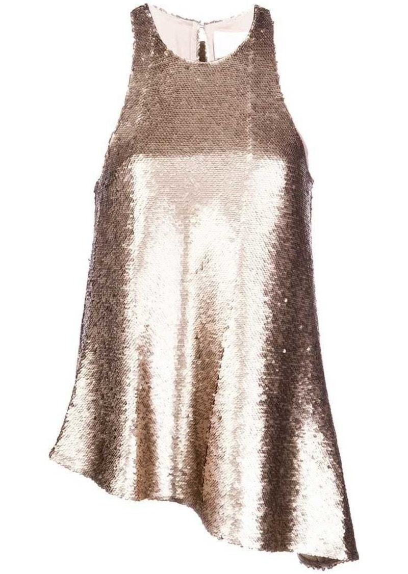sequin embellished asymmetric top