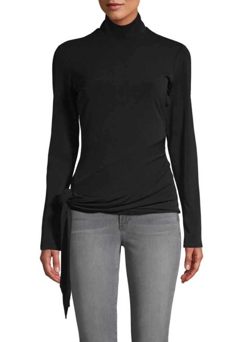 Cinq a Sept Shea Sash-Tie Turtleneck Top