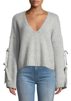 Cinq a Sept Sidel Cropped Tie-Sleeve Wool Sweater