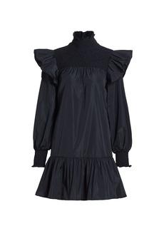 Cinq a Sept Taffeta Flounce Hem Shift Dress