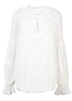 Cinq a Sept tie neck flared blouse