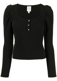 Cinq a Sept U-neck button-front knitted top
