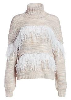 Cinq a Sept Valentina Feather-Trim Knit Wool-Blend Turtleneck Sweater