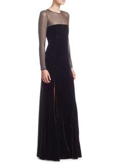 Cinq a Sept Velvet Mesh Gown