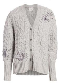 Cinq a Sept Victoria Floral Embellished Alpaca & Wool-Blend Cardigan
