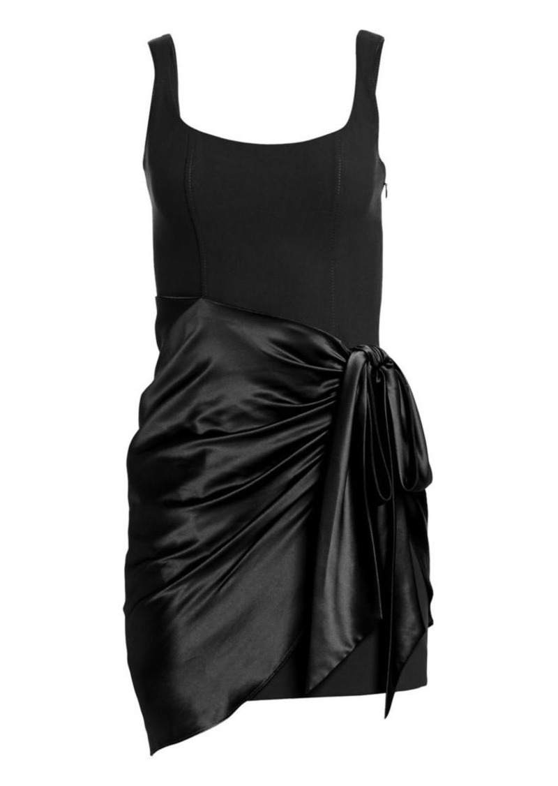 Cinq a Sept Waverly Satin Overlay Bodycon Dress