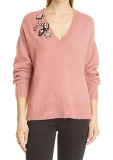 Women's Cinq A Sept Kamila Applique Wool Blend Sweater