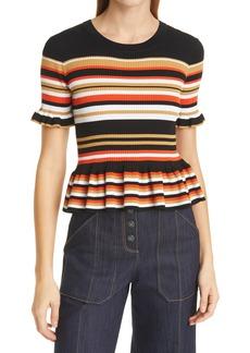 Women's Cinq A Sept Milly Stripe Peplum Sweater