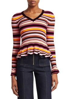 Cinq a Sept Zana Striped Peplum Sweater