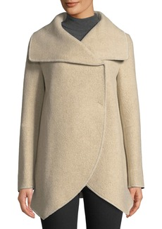 Cinzia Rocca Asymmetric Long-Sleeve Wool-Blend Wrap Jacket  Beige