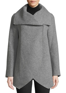 Cinzia Rocca Asymmetric Long-Sleeve Wool-Blend Wrap Jacket  Light Gray