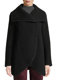 Cinzia Rocca Asymmetric Long-Sleeve Wool-Blend Wrap Jacket
