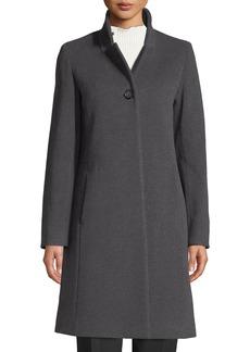 Cinzia Rocca Button-Front Wool-Blend Walking Coat