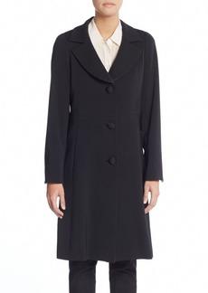 Cinzia Rocca Brocade-Trimmed Wool Coat