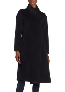 Cinzia Rocca Draped Collar Virgin Wool Coat