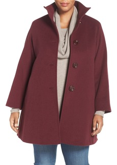 Cinzia Rocca DUE A-Line Wool Blend Stand Collar Coat (Plus Size)
