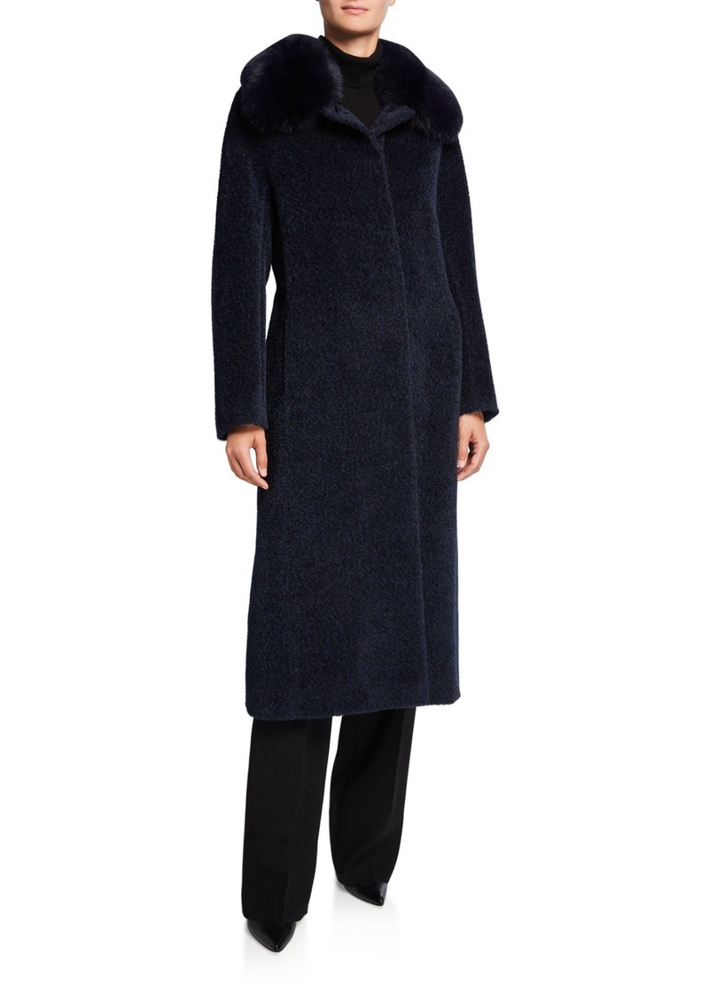 Cinzia Rocca Fox Fur-Collar Long Coat