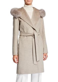 Cinzia Rocca Fox-Trim Hooded Virgin Wool Wrap Coat