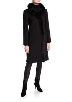Cinzia Rocca Fox-Trim Long Virgin Wool Coat