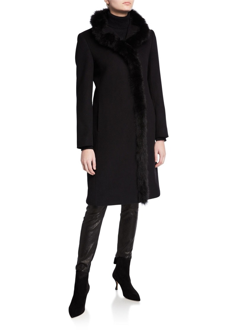 Cinzia Rocca Fox-Trim Long Virgin Wool Coat