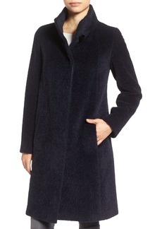 Cinzia Rocca Icons Stand Collar Wool & Alpaca Long A-Line Coat