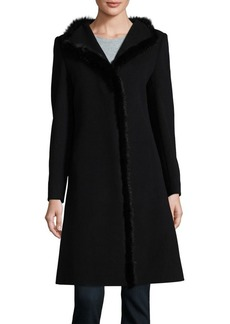 Cinzia Rocca Icons Wool-Cashmere Mink Trim Coat