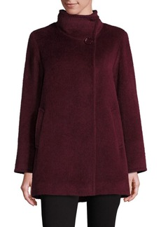 Cinzia Rocca Llama and Wool Funnelneck Coat