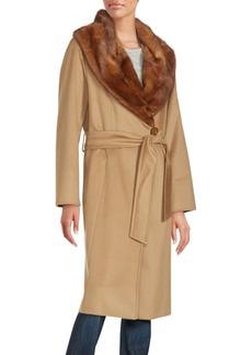 Cinzia Rocca Mink-Collar Wool Wrap Coat