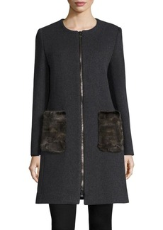 Cinzia Rocca Mink Fur Pocket Wool Coat