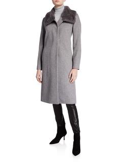 Cinzia Rocca Mink-Trim Long Virgin Wool Coat